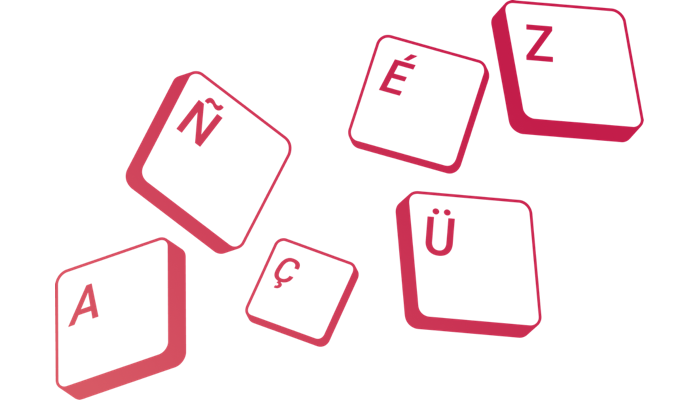 Keyboard keys for various typed characters, from the different languages supported by Raspberry Pi 400
