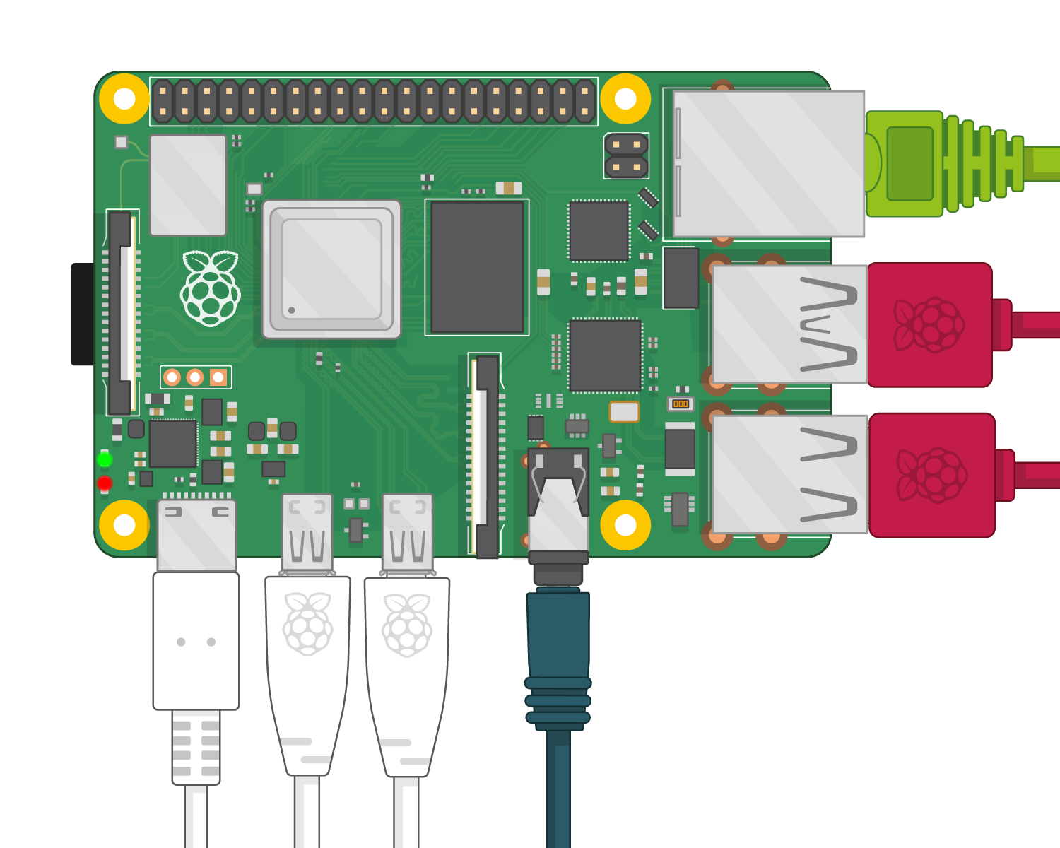 A Raspberry Pi 4, plugged in and ready to use